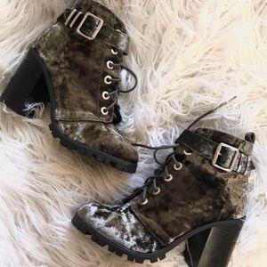 Green velvet chunky boots